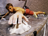 Wall Climber Reaches for a Grip  Colorado  USA