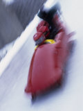 Blurred Action of the Start of 4 Man Bobsled Team  Lake Placid  New york  USA