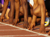 Detail of Runners Hands at the Start of a Mens 100M Race