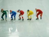 Short Track Speed Skaters at the Starting Line