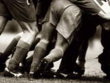 Detail of Feet of a Group of Rugby Players in a Scrum  Paris  France