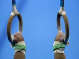 Detail of Male Gymnast Competing on the Rings  Athens  Greece