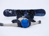 Female Snowboarder Collapsed after a Run  New York  USA