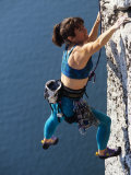 Female Rock Climber Reaching for a Grip  New Paltz  New York  USA