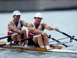 Men's Pairs Rowing Team in Action  Vancouver Lake  Washington  USA