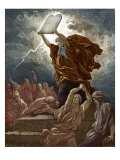 Moses breaks the tablets of the law after coming down from Mount Sinai