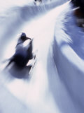 Blurred Action of Bobsled  Park City   Utah  USA