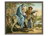 The flight into Egypt - Madonna  Joseph and child  1880