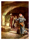 Peter and John hurry to the empty tomb and inspect the linen cloths