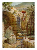 Jesus asks a Samaritan woman for water at Jacob's well in the city of Sychar