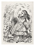 Alice returning from Wonderland  surrounded by cards and animals