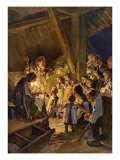 German Christmas scene with children looking at the nativity scene with Joseph  Mary and baby Jesus