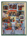 Medieval illumination including scenes featuring the Trojan Horse and the death of Priam
