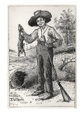 Huck Finn holding gun and hare  hunting