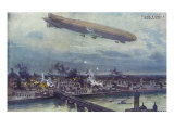 World War I - bombardment of Warsaw by the airship Schutte-Lanz (very similar to the Zeppelin)