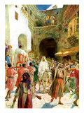 Jesus enters Jerusalem on a white donkey and is praised by the crowds