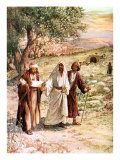 Two disciples walk with the risen Jesus on the road to Emmaus  unaware who he is