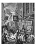 Night  London - engraving by William Hogarth  Scene of 18th century London street life and society