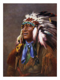 Native American in traditional dress and headdress with an excerpt from 'The Song of Hiawatha'