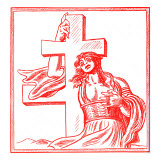 Czech caricature of female personification of Slovakia holding a cross