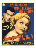 Honeymoon in Bali  Fred Macmurray  Madeleine Carroll on Midget Window Card  1939