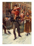 Charles Dickens's 'A Christmas Carol' : portrait of Bob Cratchit and Tiny Tim