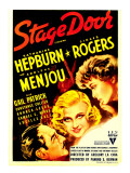 Stage Door  Adolphe Menjou  Ginger Rogers  Katharine Hepburn on Midget Window Card  1937