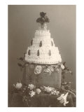 Black and White Photo of Wedding Cake