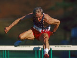 Mature Athlete Competes in Hurdles Race  Atlanta  Georgia  USA