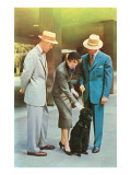 Two Men  Woman with Poodle  Fifties