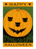 Jack O&#39;Lantern with Cats and Bat