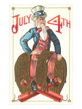 Uncle Sam Riding Eagle  Fourth of July