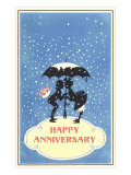 Happy Anniversary  Couple under Umbrella