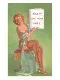 Happy Birthday Baby  Pin-Up Holding Book
