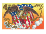 4th of July Greeting  Eagle and Shield