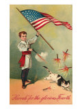Patriotic Boy Shooting Cat
