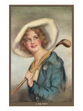 Lady in Hat with Golf Club