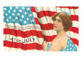 4th of July  Flag and Lady with Blue Bow