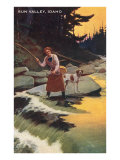 Sun Valley  Idaho  Fishing Woman with Pointer
