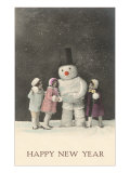 Happy New Year  Snowman and Children
