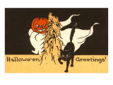 Halloween Greetings  Black Cat  Jack O'Lantern