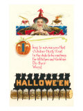 Halloween Greetings  Witch and Poem