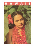 Hawaii  Lady in Taro Leaves with Lei