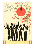 Happy New Year  Men in Tuxedos  Clock at Midnight