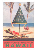 Merry Christmas from Hawaii  Conical Umbrella on Beach
