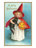 A Jolly Halloween  Little Girl Witch with Cat and Jack O'Lantern