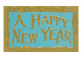 A Happy New Year  Gold Letters on Blue
