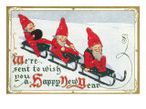 Happy New Year  Elves on Sleds