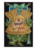 Bright New Year  Embossed Gold Bell
