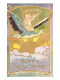 Happy New Year  Baby on Stork